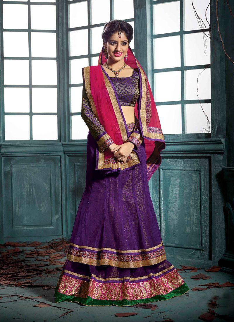 Deepika Singh Purple Pure Georgette Lehenga Choli