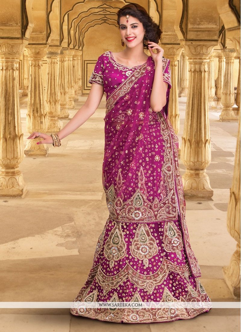 Purple Resham Work A Line Lehenga Choli