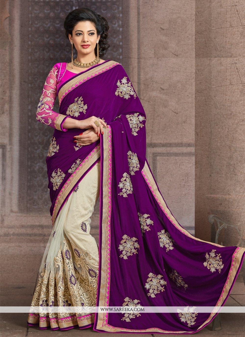 Purple Resham Work Net Half N Half  Saree