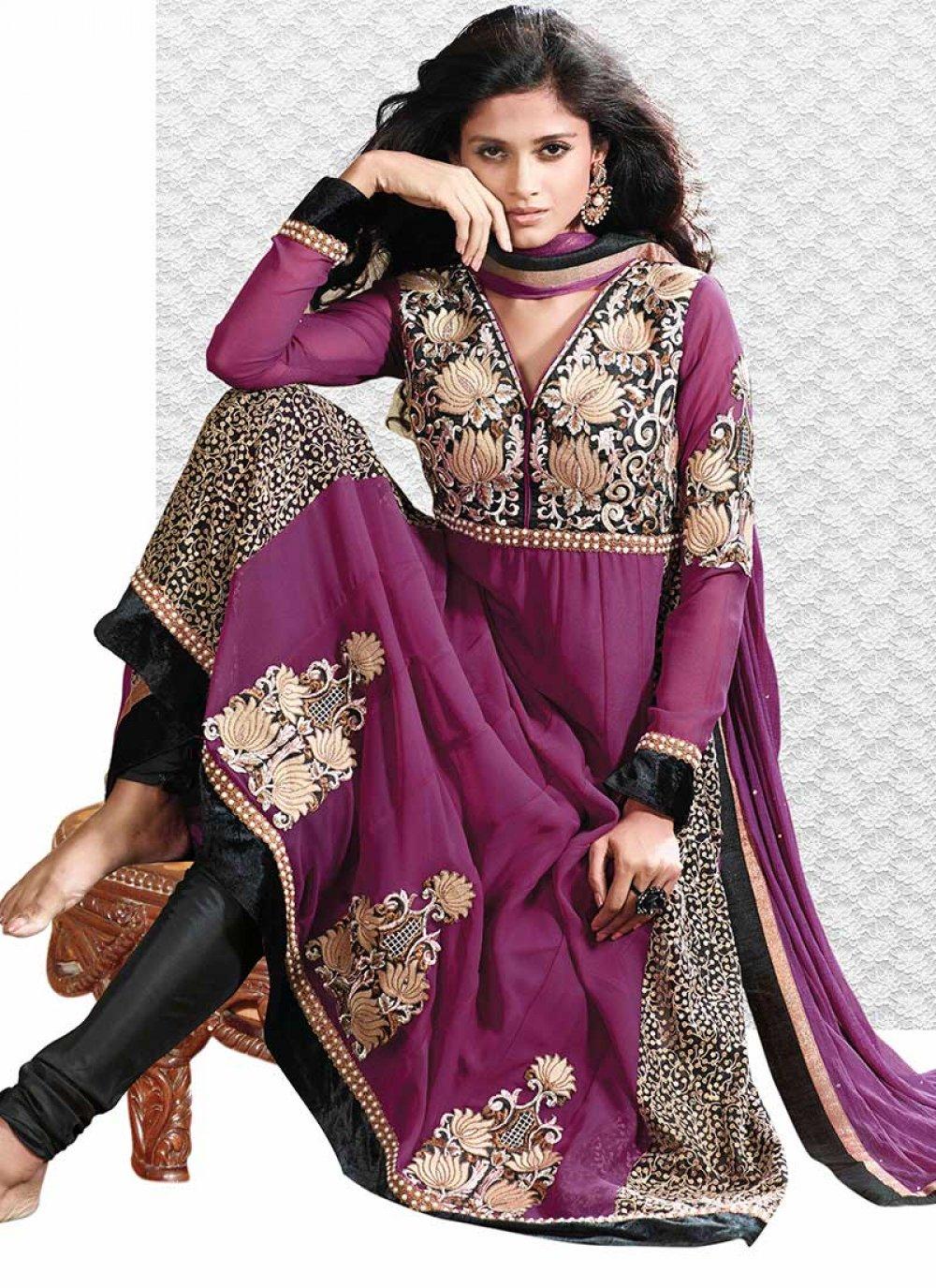 Purple Shaded Embroidery Work Georgette Anarkali Suit
