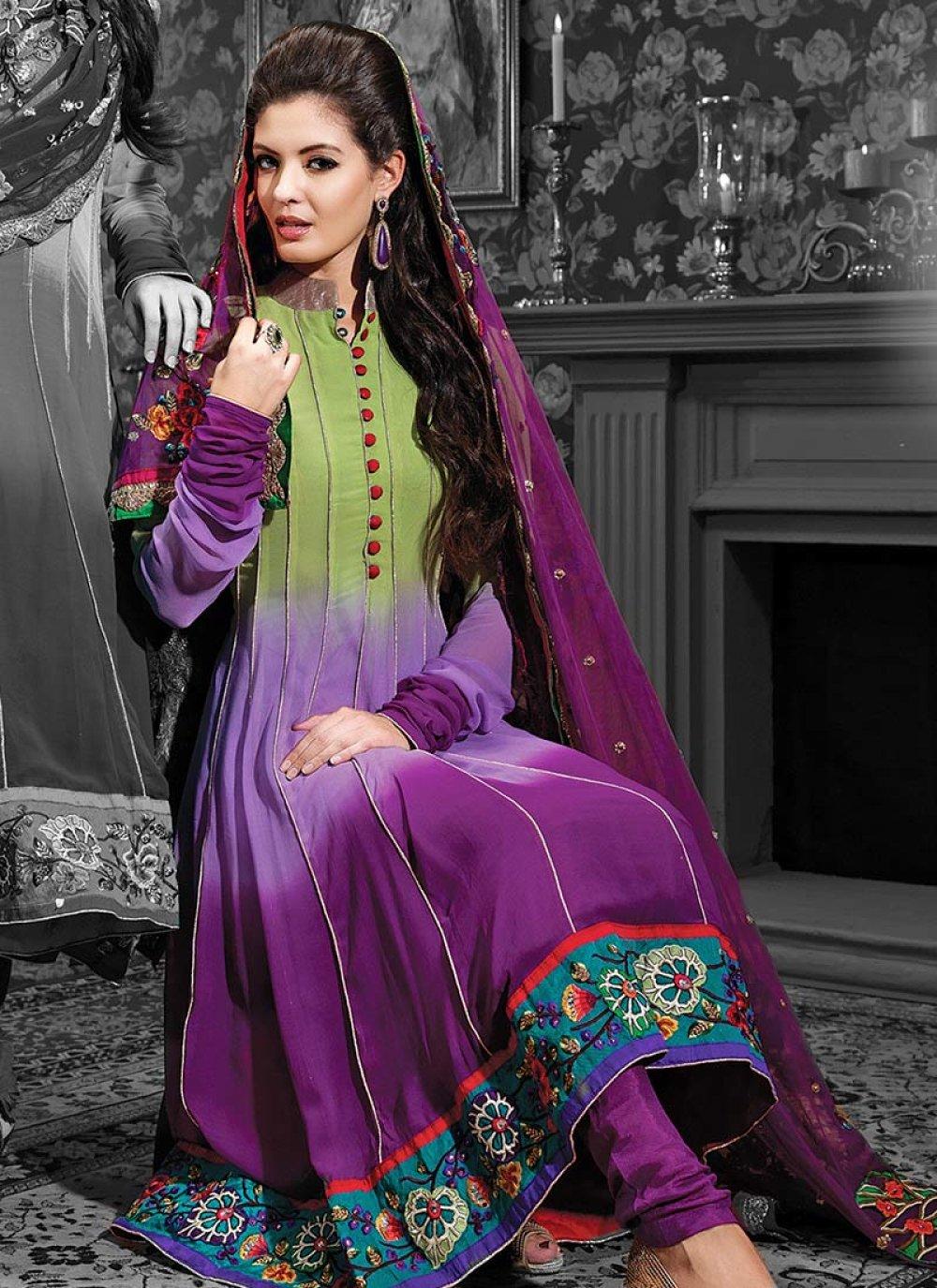 Purple Shaded Georgette Churidar Suit