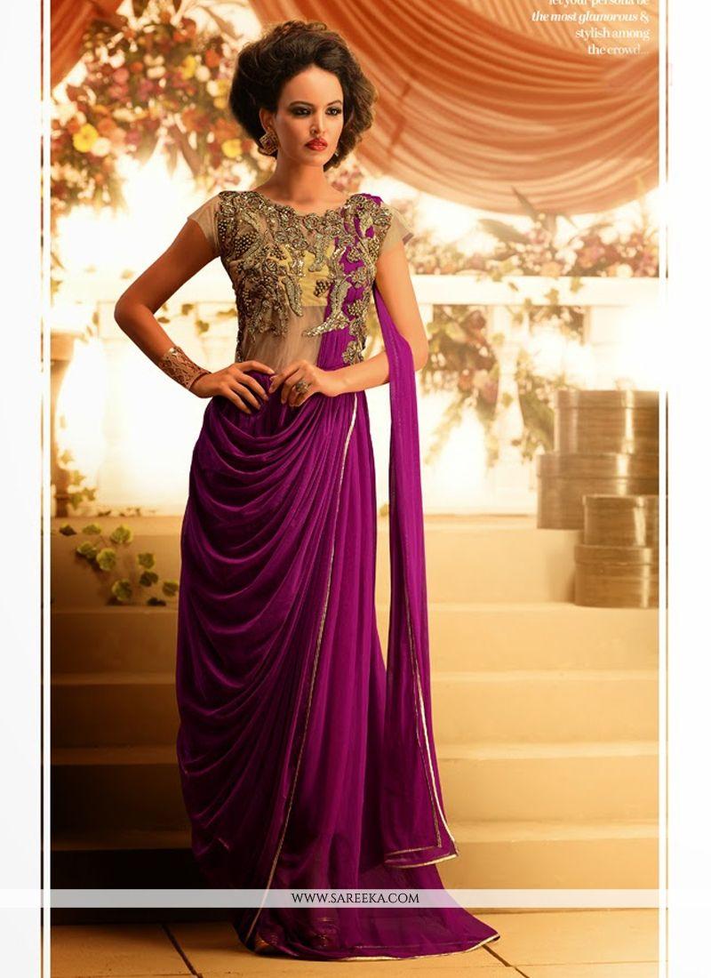 Purple Soft Net Designer Gown