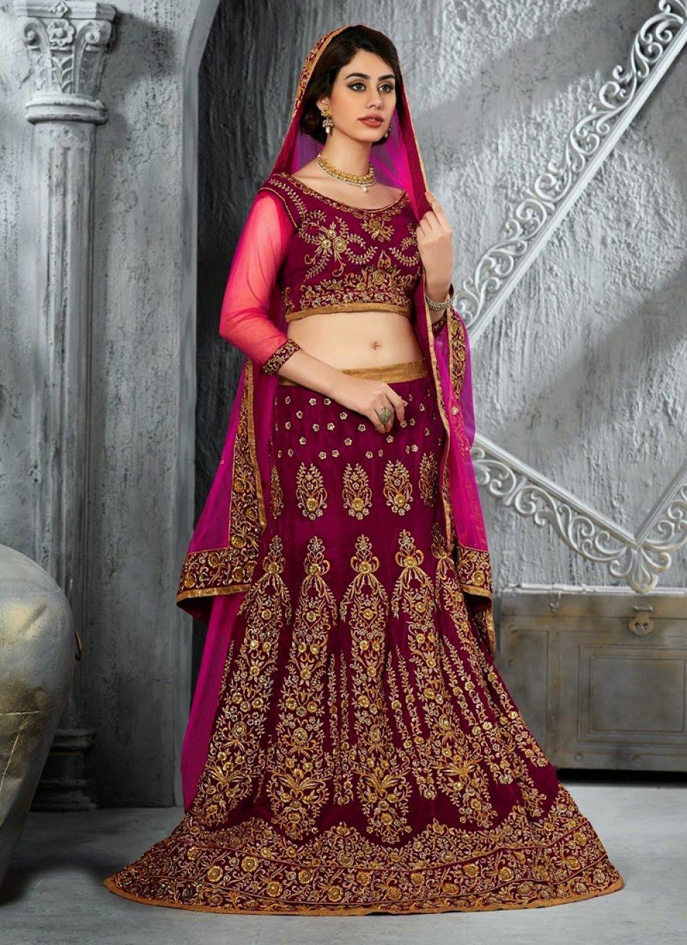 Purple Velvet Bridal Lehenga Choli