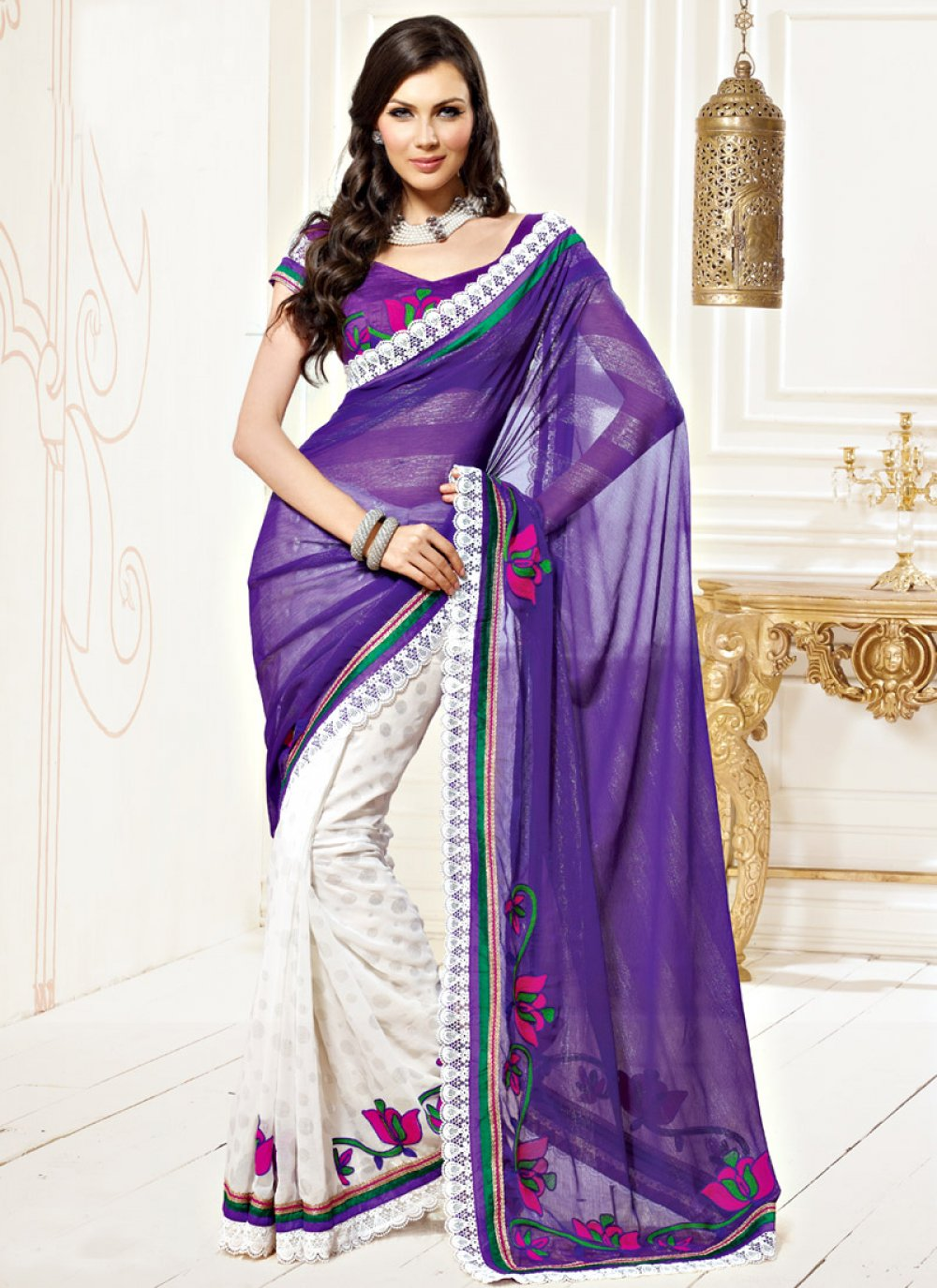 Purple White Faux Chiffon Saree