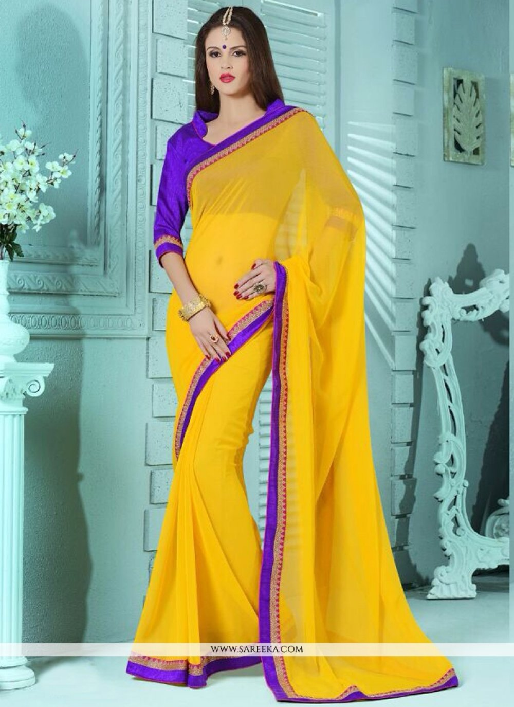 Bamber Georgette  Lace Work Casual Saree