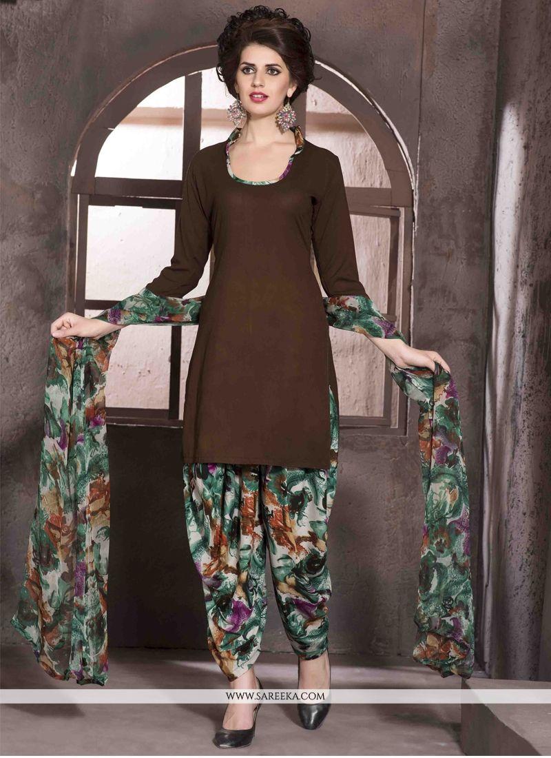 Brown Print Work Faux Crepe Designer Patiala Salwar Kameez