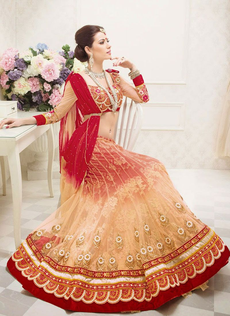 Cream And Red Stone Work Net Lehenga Choli