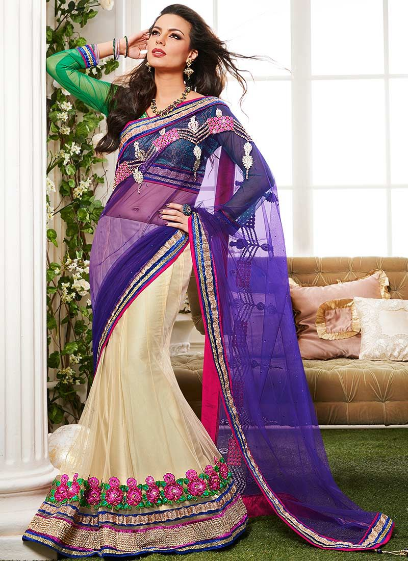Cream And Violet Net Lehenga Saree