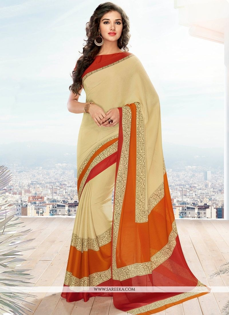 Cream Print Work Georgette Casual Saree