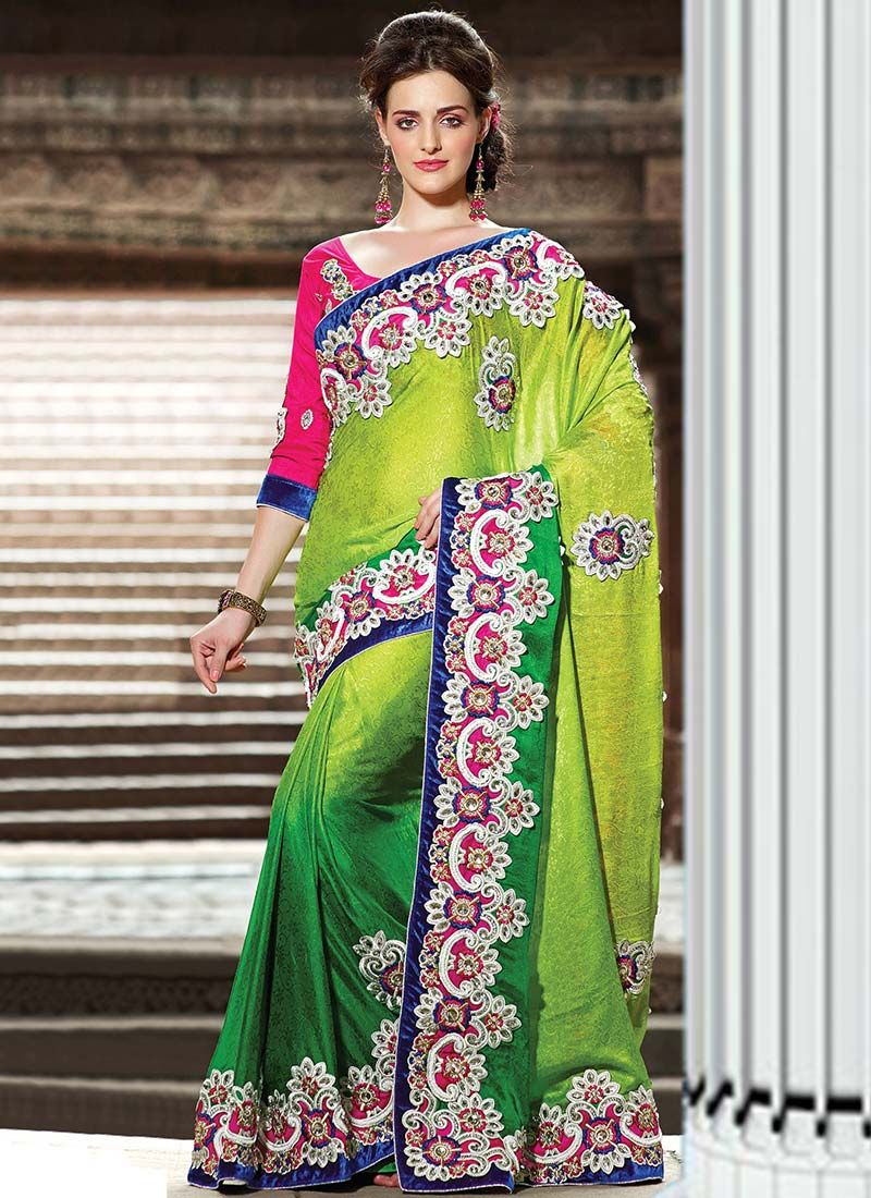 Green Crepe Casual Saree