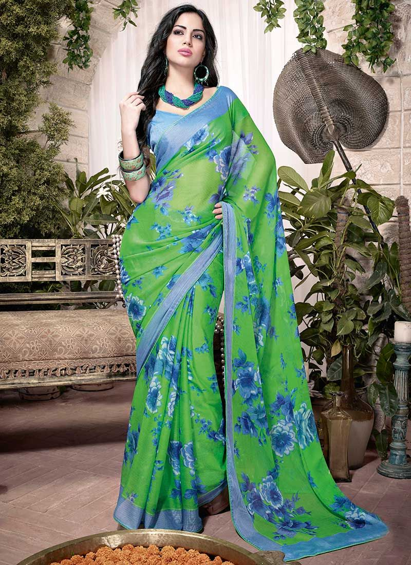 Green Printed Georgette Saree