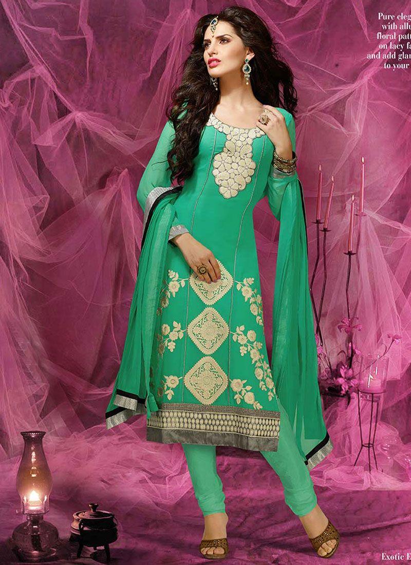 Green Resham Work Churidar Salwar Suit