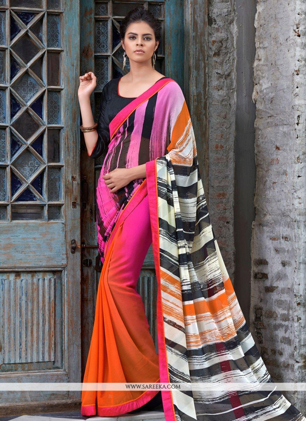 Lace Work Multi Colour Casual Saree