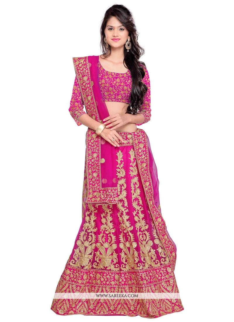 Net Hot Pink Resham Work A Line Lehenga Choli