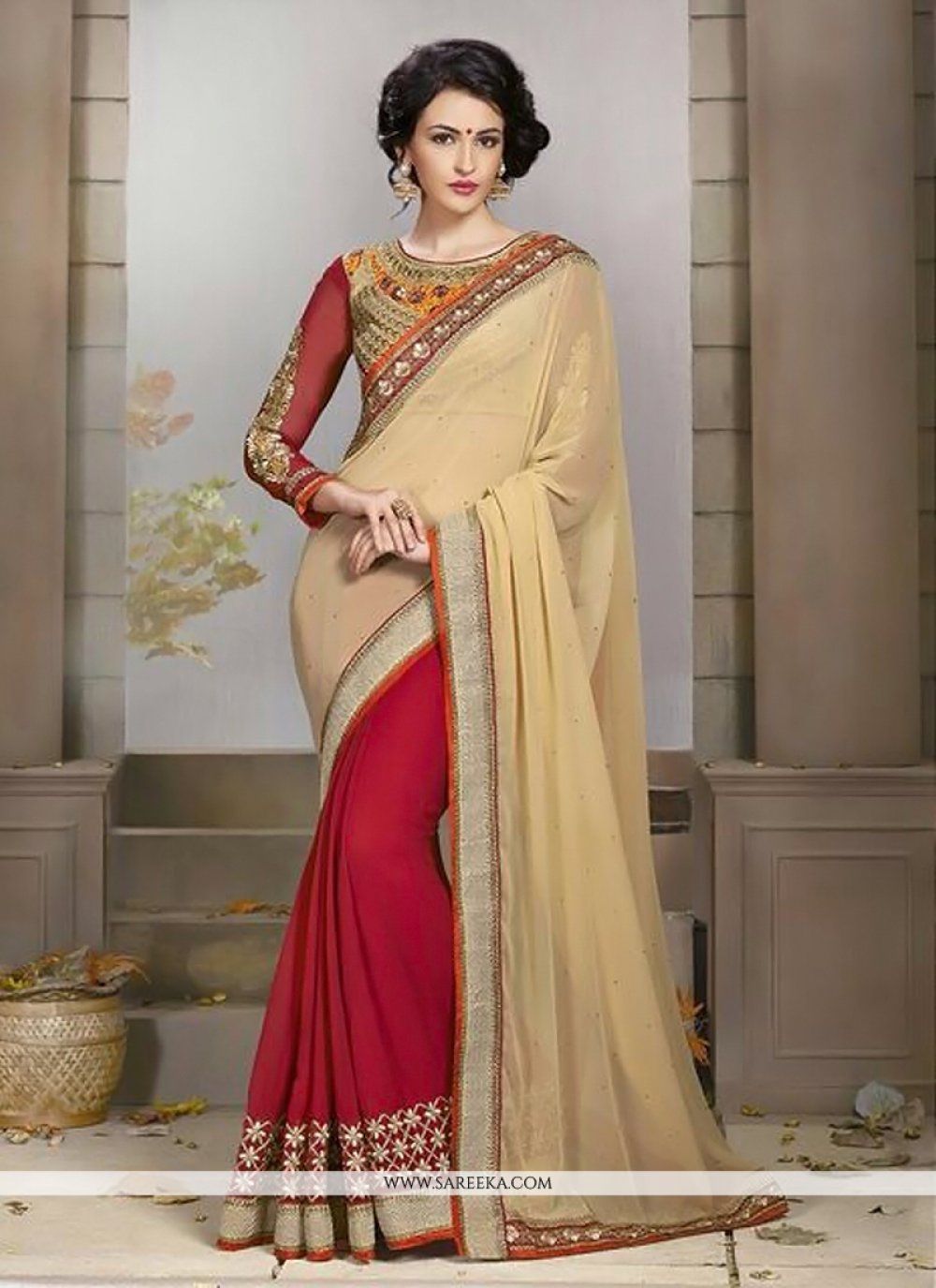 Red And Cream Georgette Wedding Saree