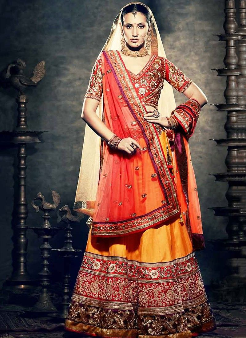 Red And Yellow Net Lehenga Choli