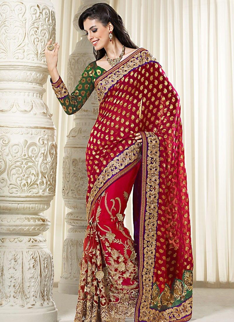 Red Border Work Net Saree