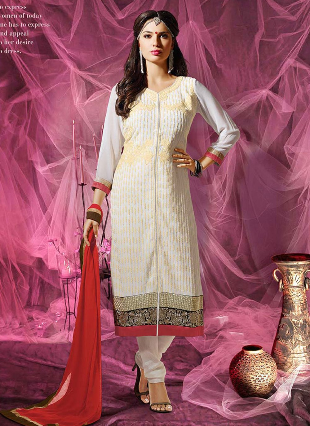 White Embroidery Work Churidar Suit