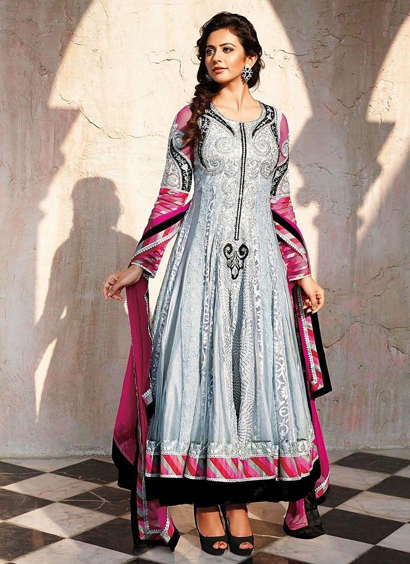 e2d410723c6 Rakul Preet Grey Zari Net Anarkali Suit -