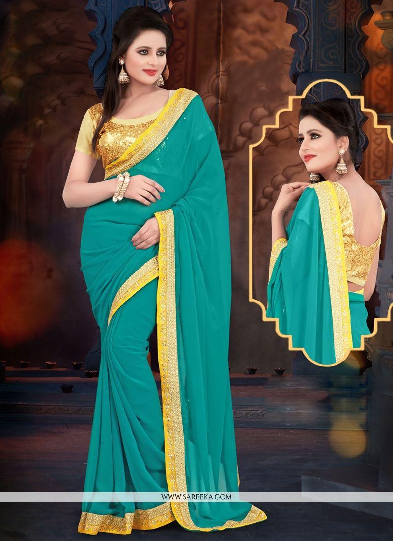 Rama Green Georgette Casual Saree