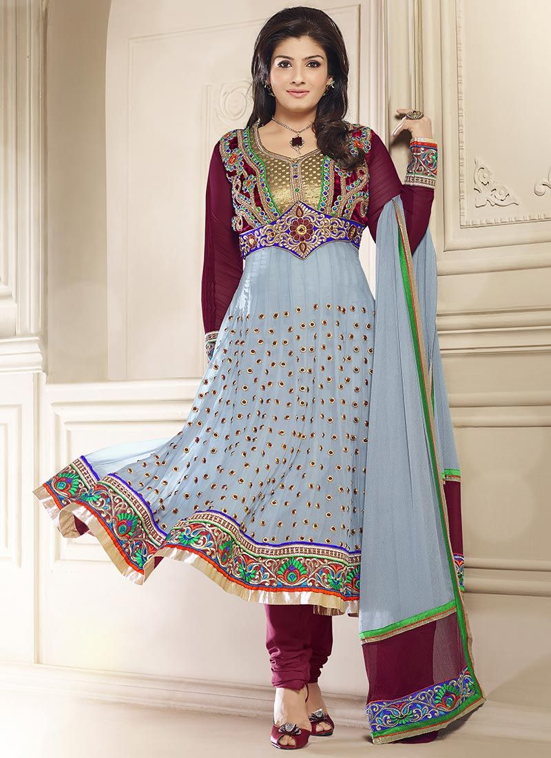 Raveena Tandon Grey Georgette Anarkali Suit -