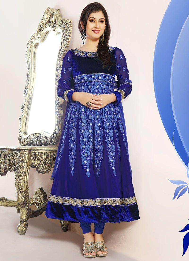 Blue Resham Georgette Anarkali Suit