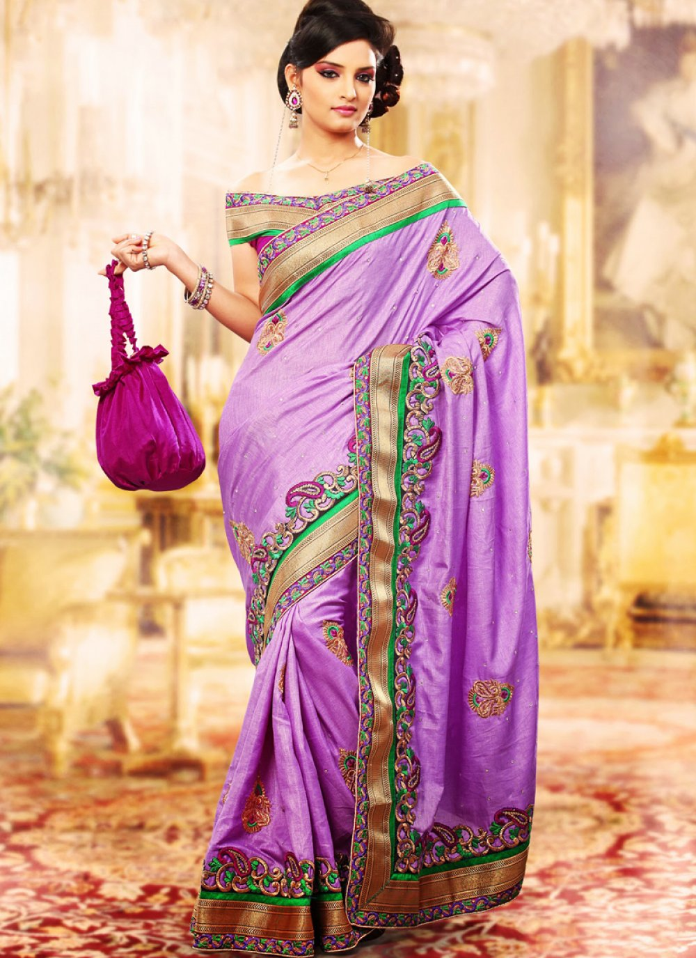 Bluish Purple Embroidered Saree