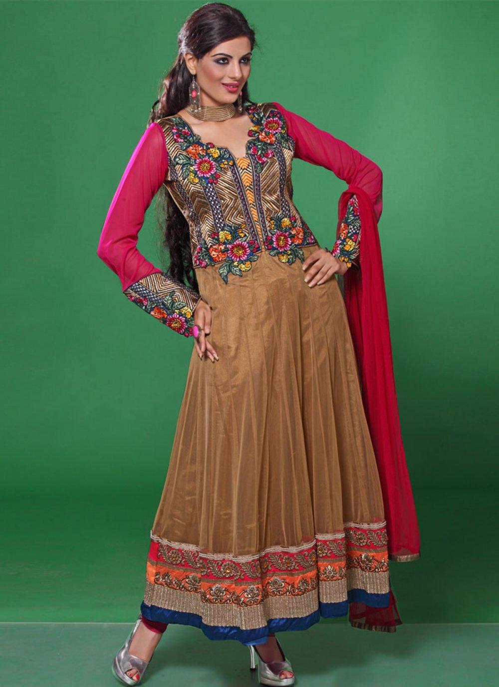 Brown And Pink Resham Work Anarkali Suit