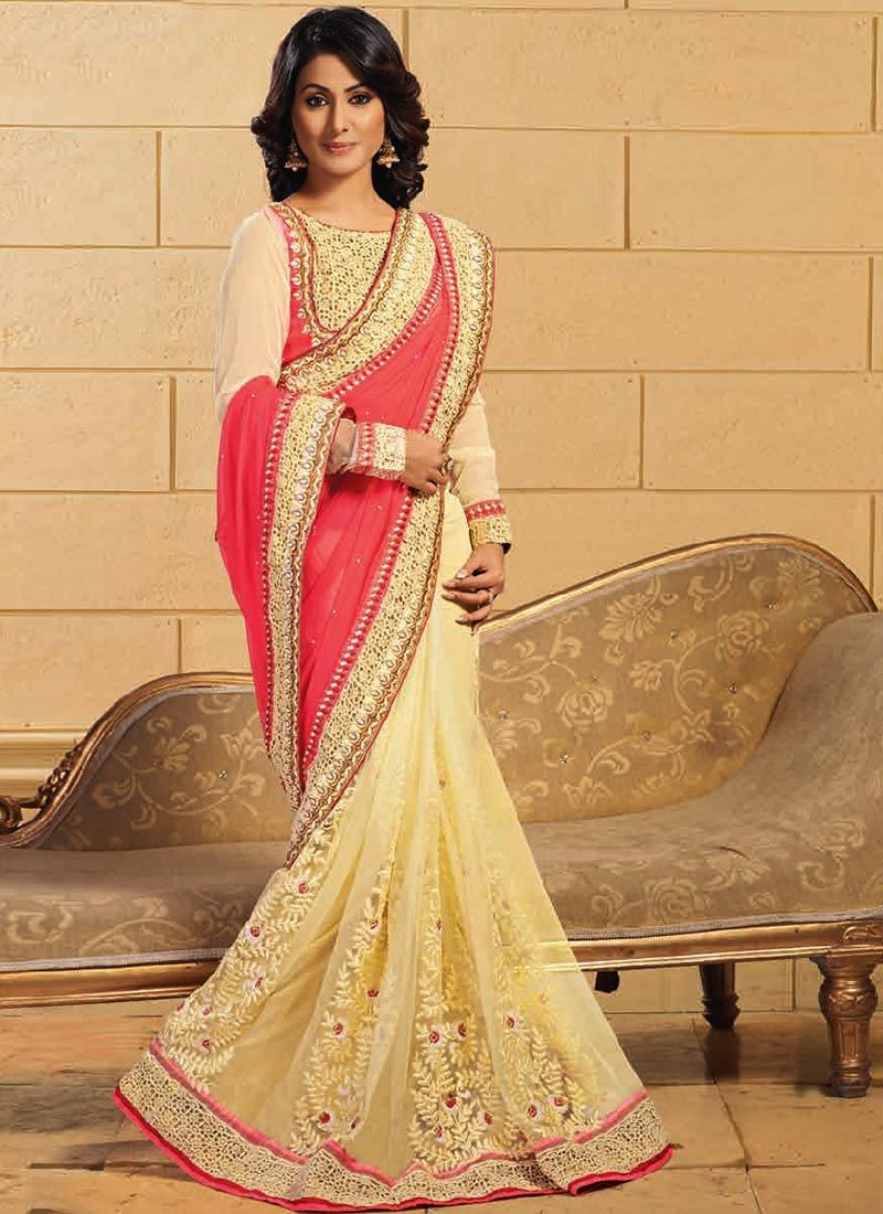 Cream And PInk Half And Half Saree