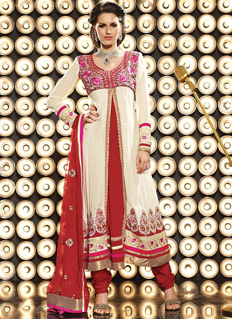 Cream & Crimson Anarkali