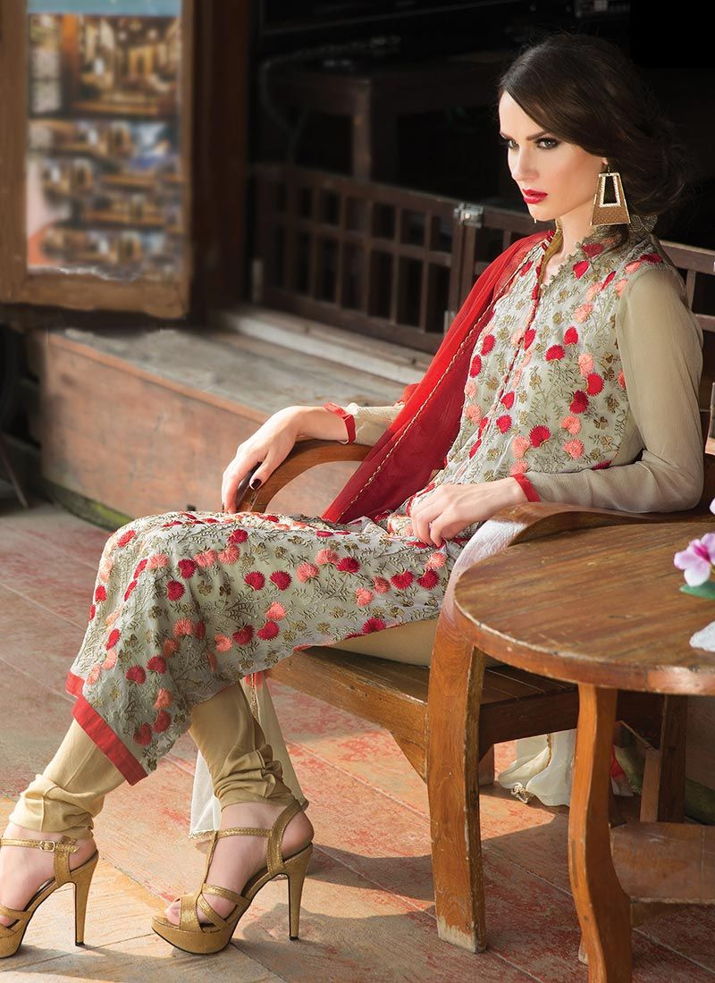 Cream Faux Chiffon Churidar Suit