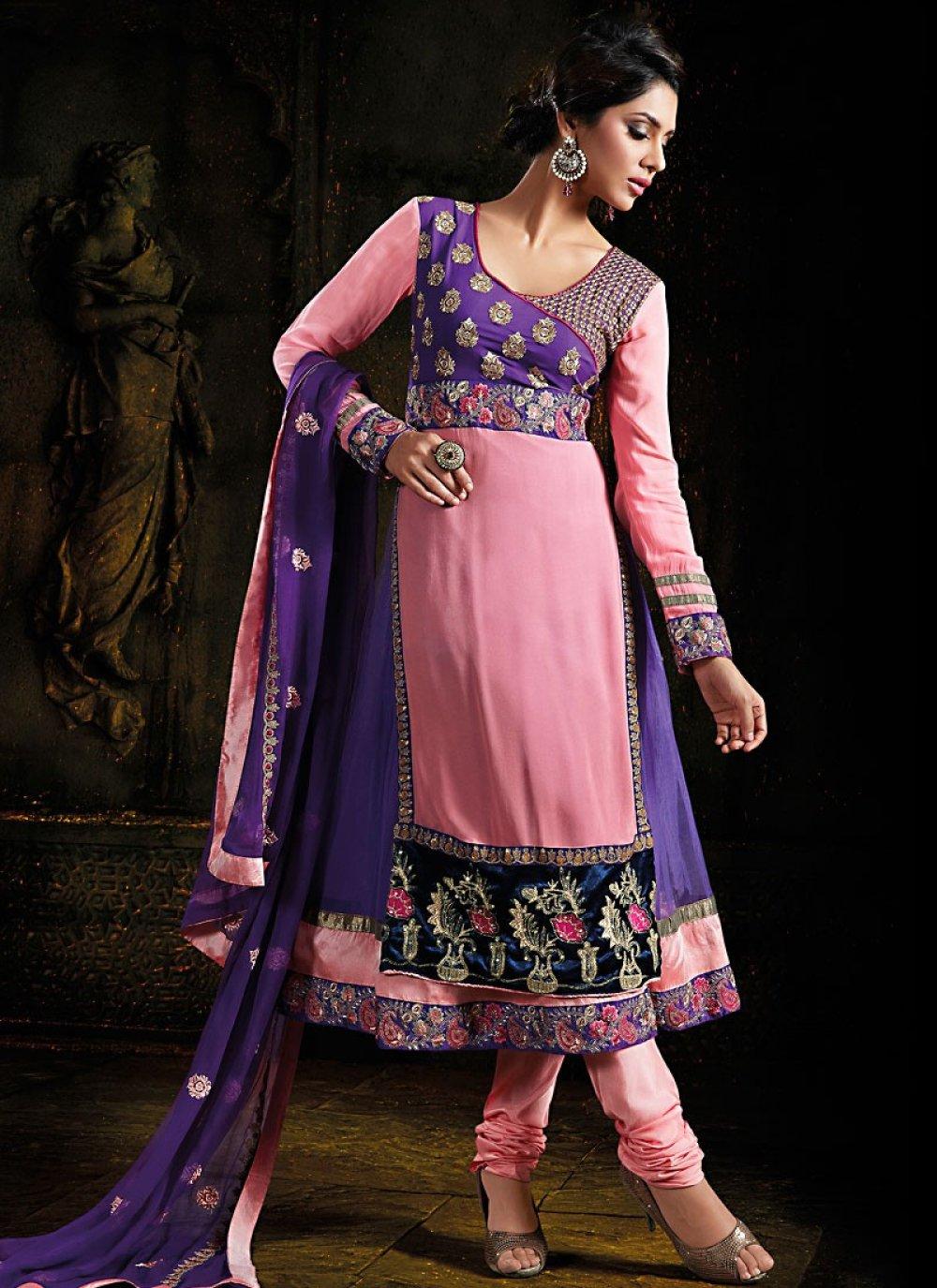 Deep Pink & Navy Blue Salwar Kameez