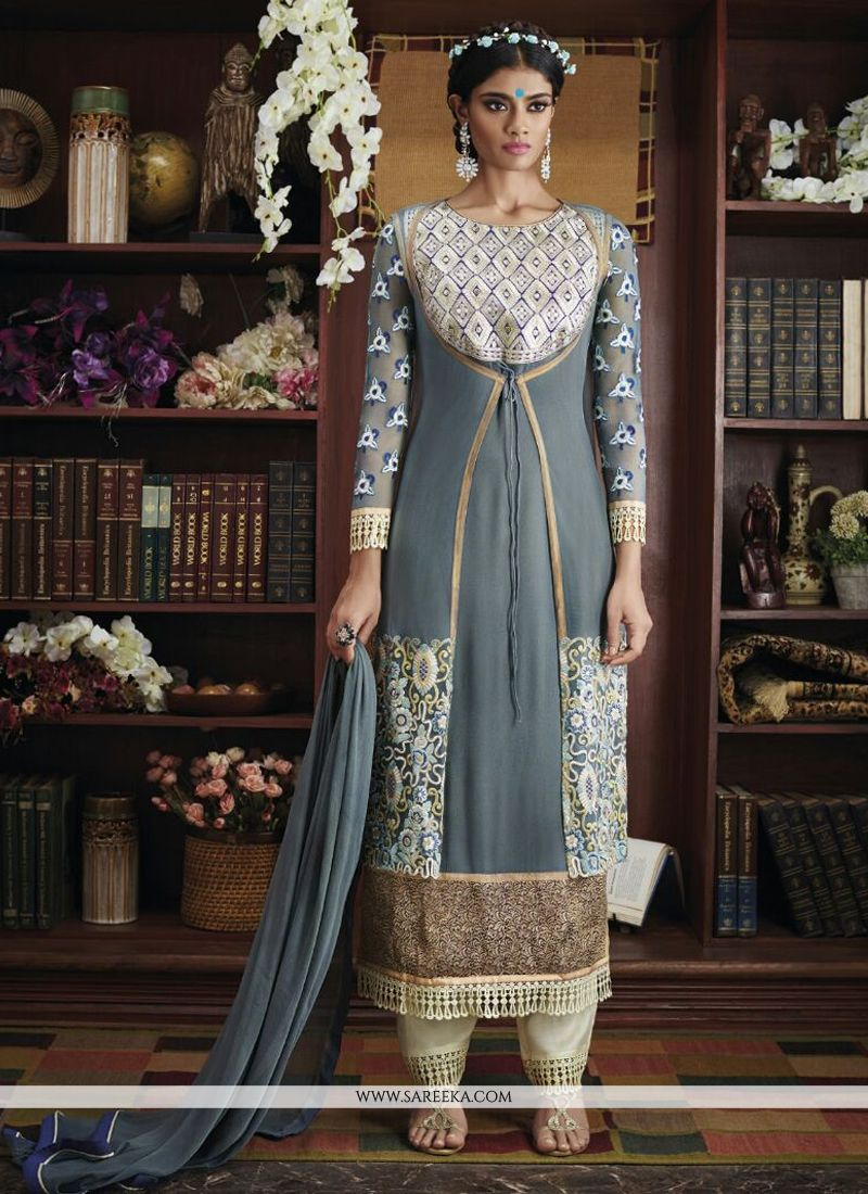 Georgette Resham Work Designer Suit