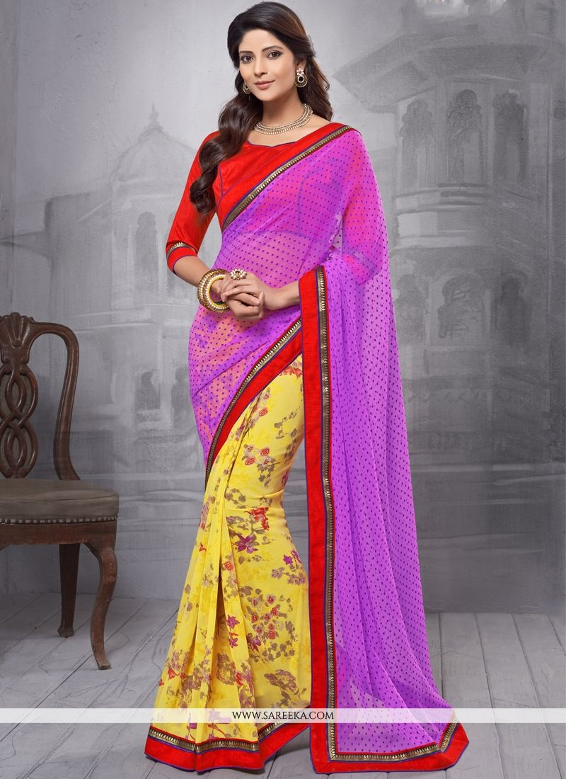 Georgette Yellow Casual Saree