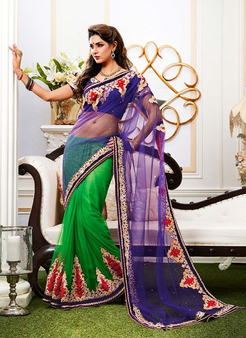 Green And Violet Net Half And Half Saree