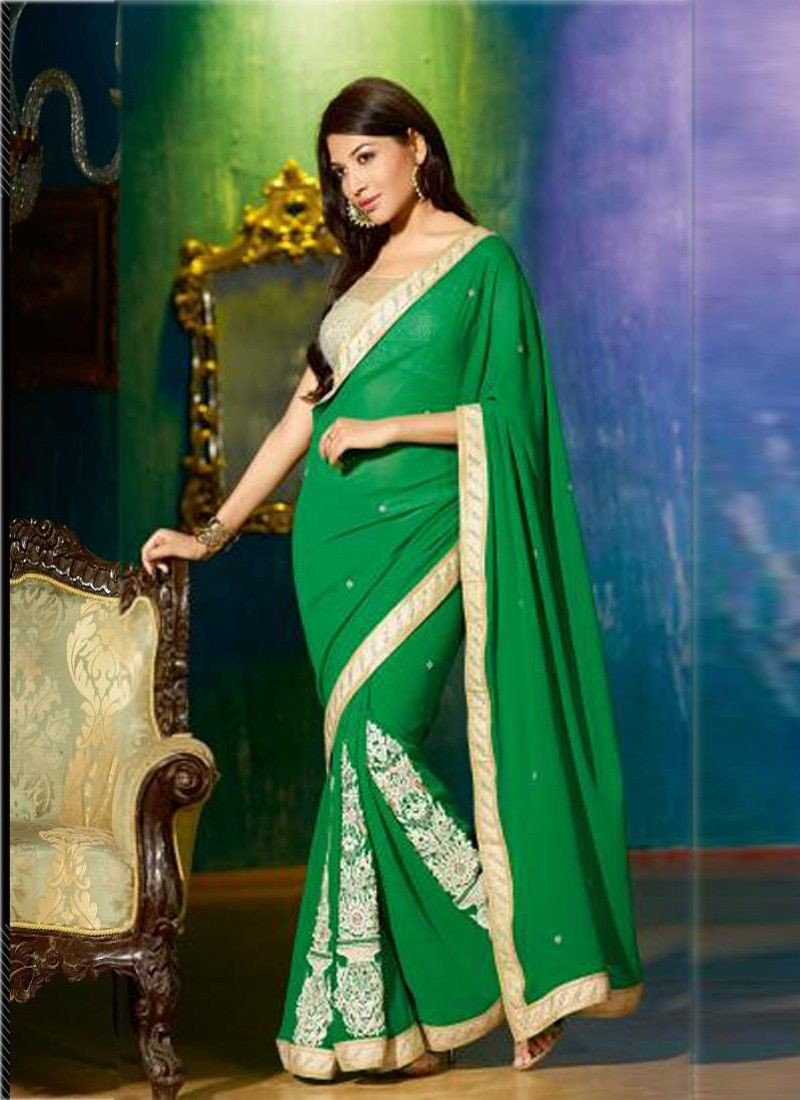 Green Resham Work Georgette Party Wear Saree