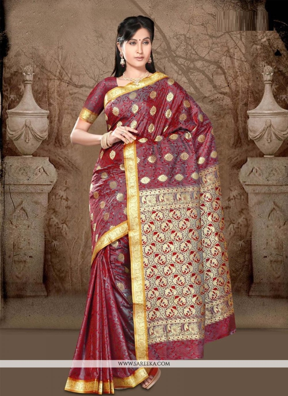 Lace Work Maroon Casual Saree