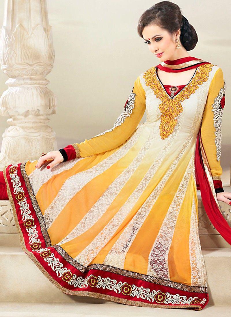 Off White & Yellow Salwar Kameez