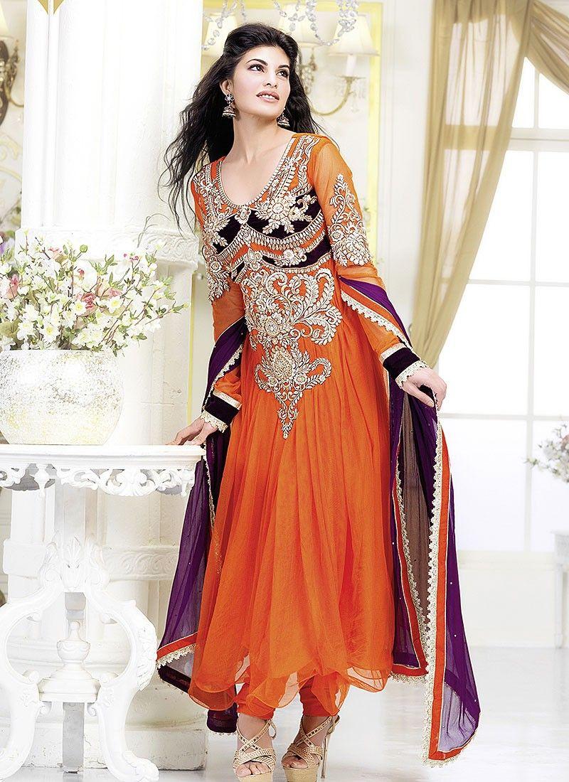 Orange Jacqueline Anarkali Suit