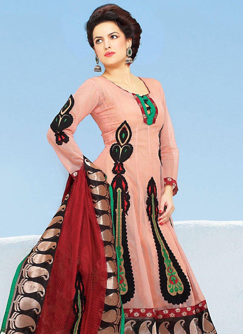 Peach Silk Cotton Churidar Suit