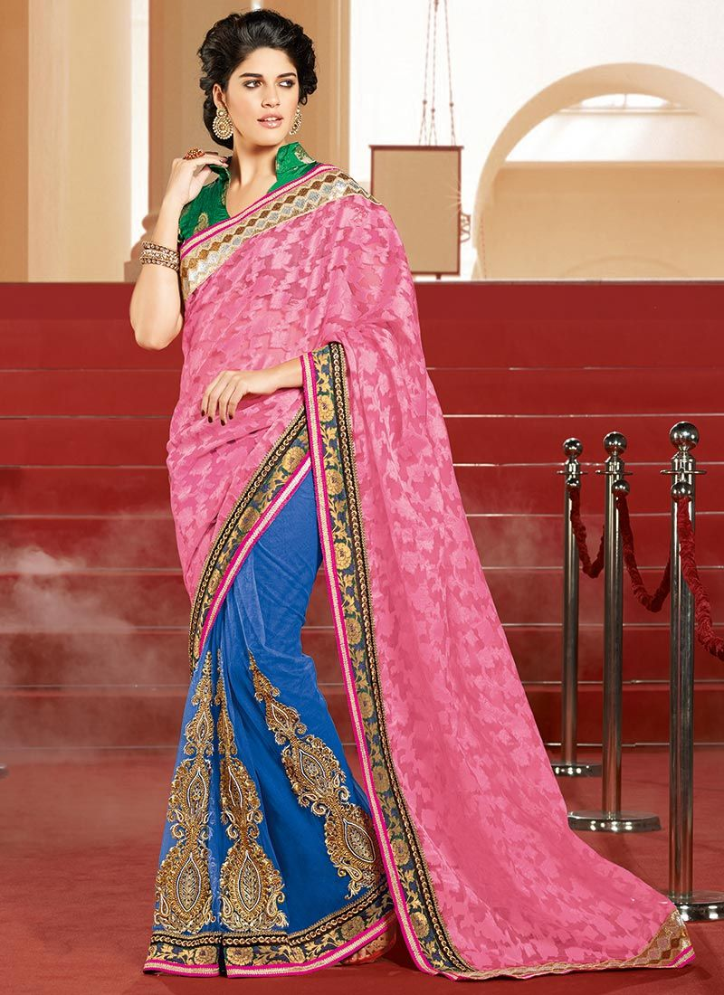 Pink Net And Brasso Half And Half Saree