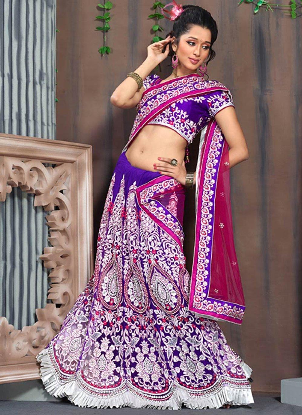 Purple Resham Work Stylish Lehenga Saree