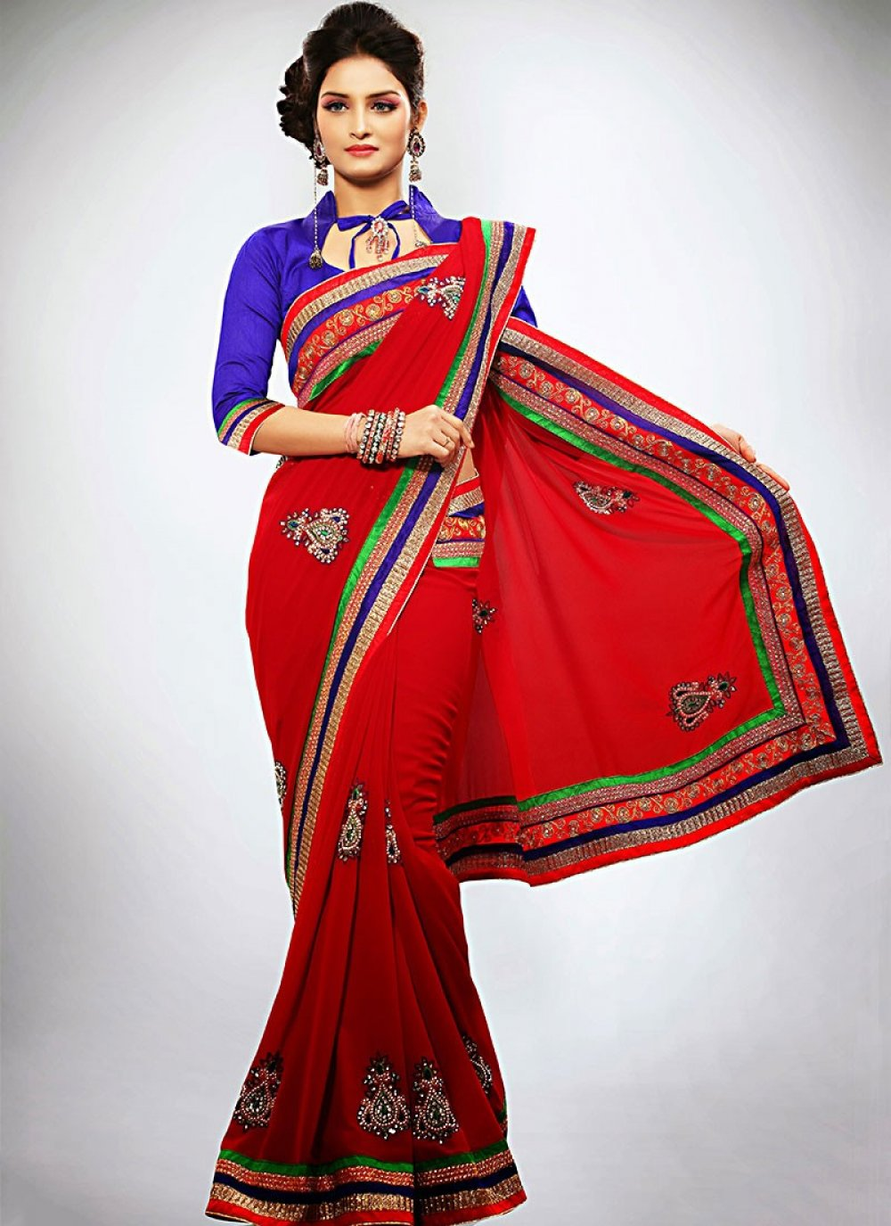 Red Faux Georgette Wedding Saree
