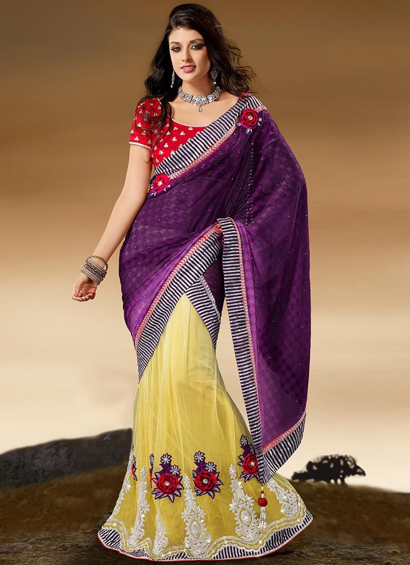 Wine And Yellow Net Lehenga Saree