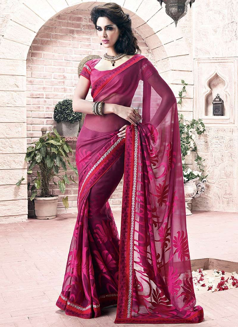 Wine Printed Faux Georgette Saree