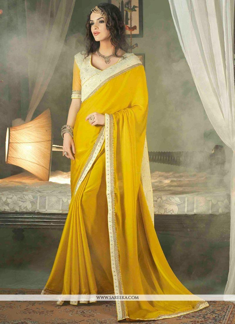 Yellow Georgette Designer Saree
