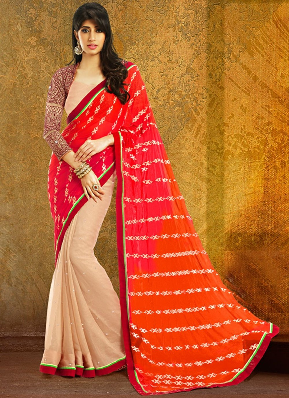 Red And Beige Color Patch Border Printed Half And Half Saree