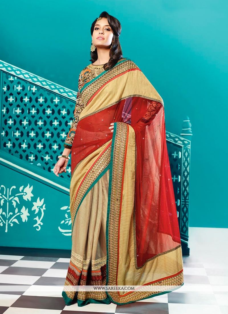 Lisa Haydon Red And Beige Cotton And Georgette Saree