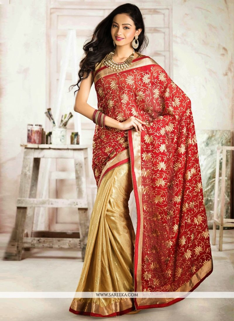 Red And Beige Embroidery Work Half And Half Saree