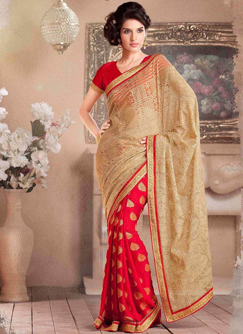 Red And Beige Net Half And Half Saree